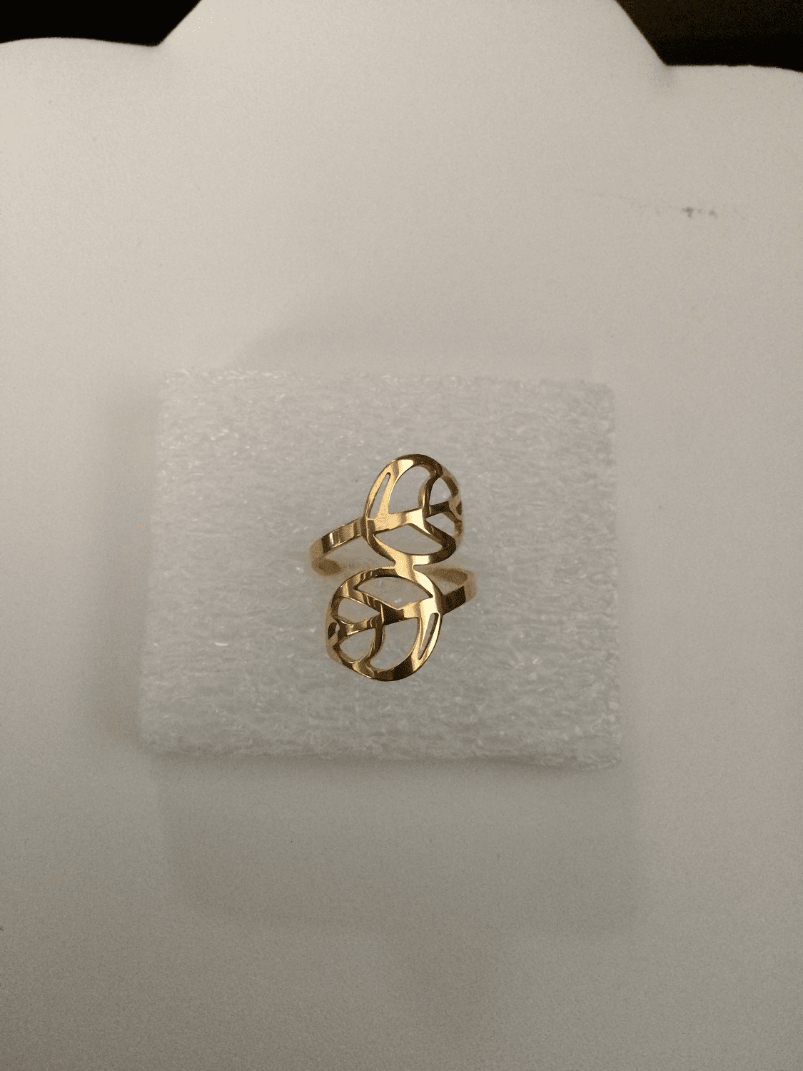Golden Leaf Stainless Steel Ring - Size 8.5