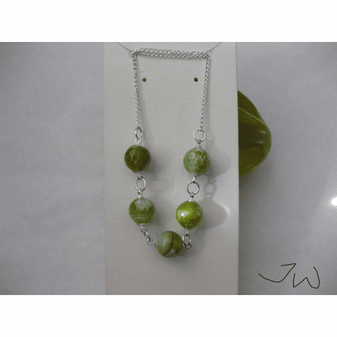 Green Agate Beads Silver Plated Necklace