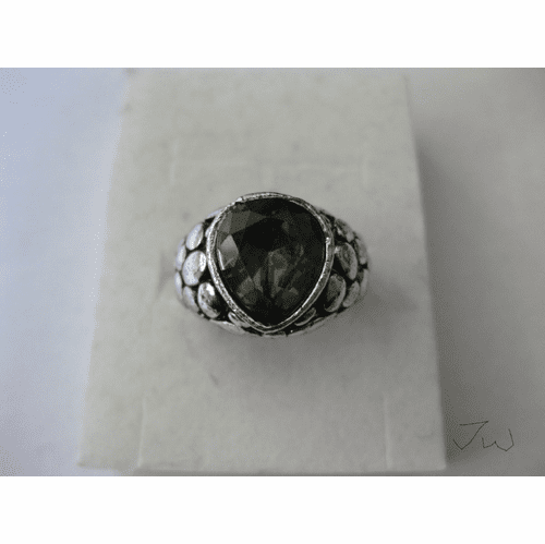 Green CZ Tibetan Silver Ring