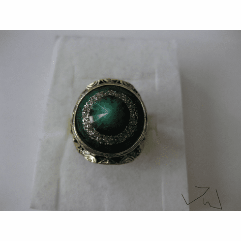 Green Lamp Glass Bronze Ring