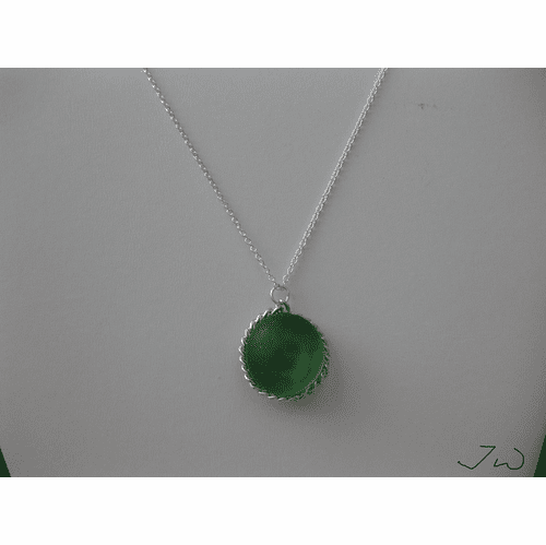 Green Round glass chain necklace