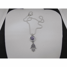 Hamsa Hand Chain Necklace with Amethyst Stone