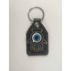 Hamsa Hand Evil eye Leather Pad Key Chain