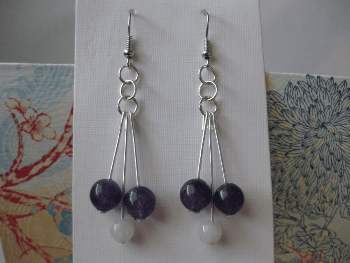 Jade and Amethyst Stainless Steel Earrings