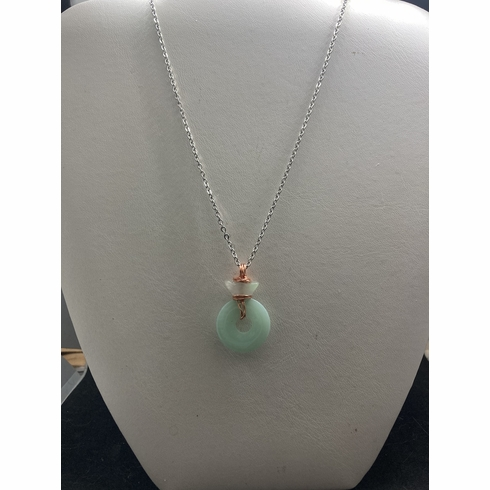 Green Jade stainless steel chain necklace