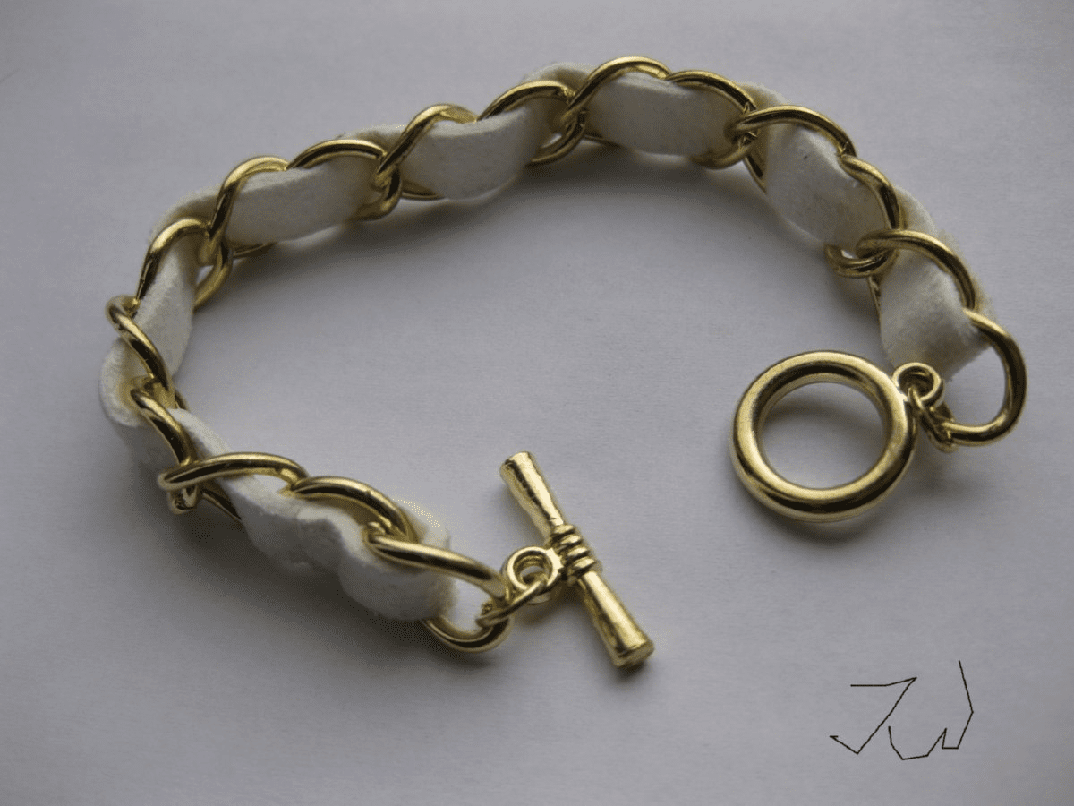 Leather Chain Bracelet - White