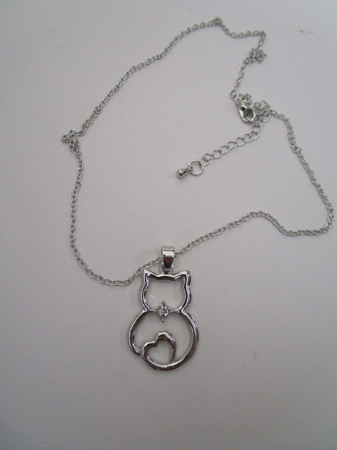 Love Cat Tibetan Silver Chain Necklace with CZ