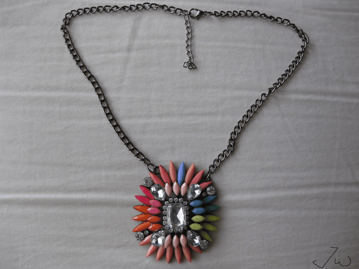 Mix Color Beads Statement Necklace with CZs