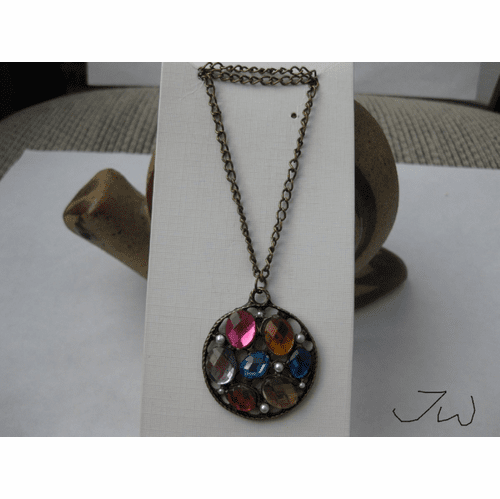 Mix Color CZs Bronze Chain Necklace