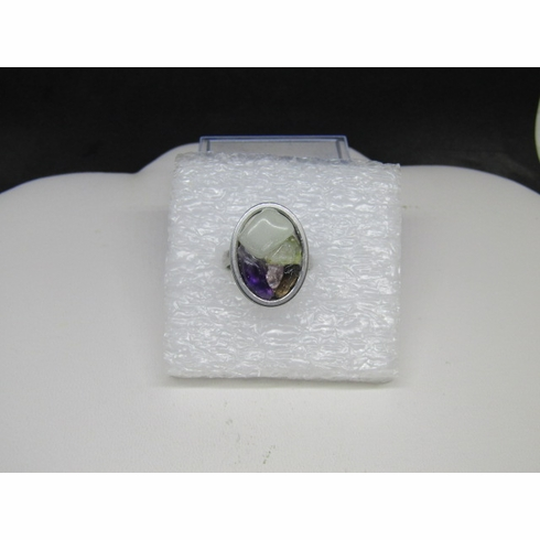 Mix gems stainless steel ring