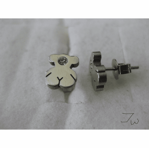 Monster Bear Stainless Steel Stud Earrings With CZ