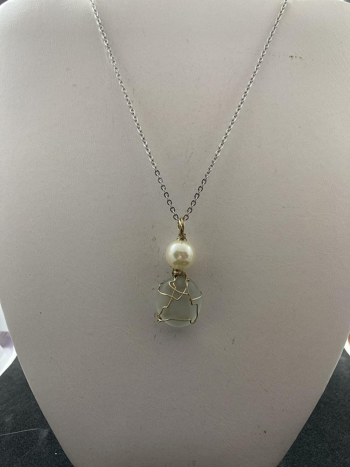 Moon glass stainless steel necklace with pearl bead