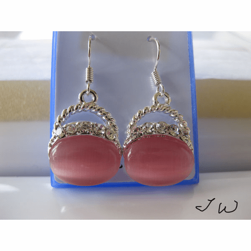 Opal .925 Sterling Silver Plated Earrings - Pink