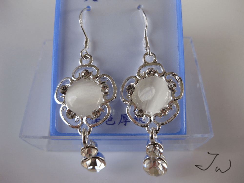 Opal .925 Sterling Silver Plated Earrings - White