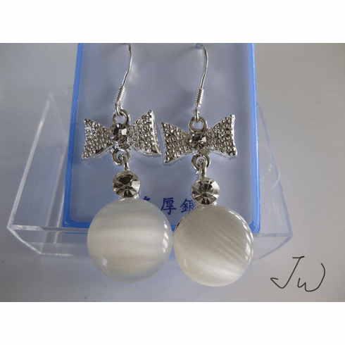 Opal .925 Sterling Silver Plated Earrings - White02