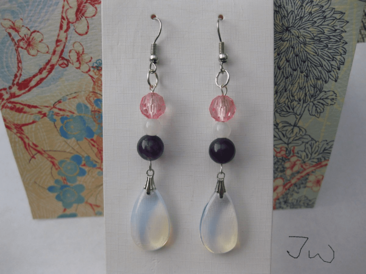 Opalite and gemstones Stainless Steel Earrings