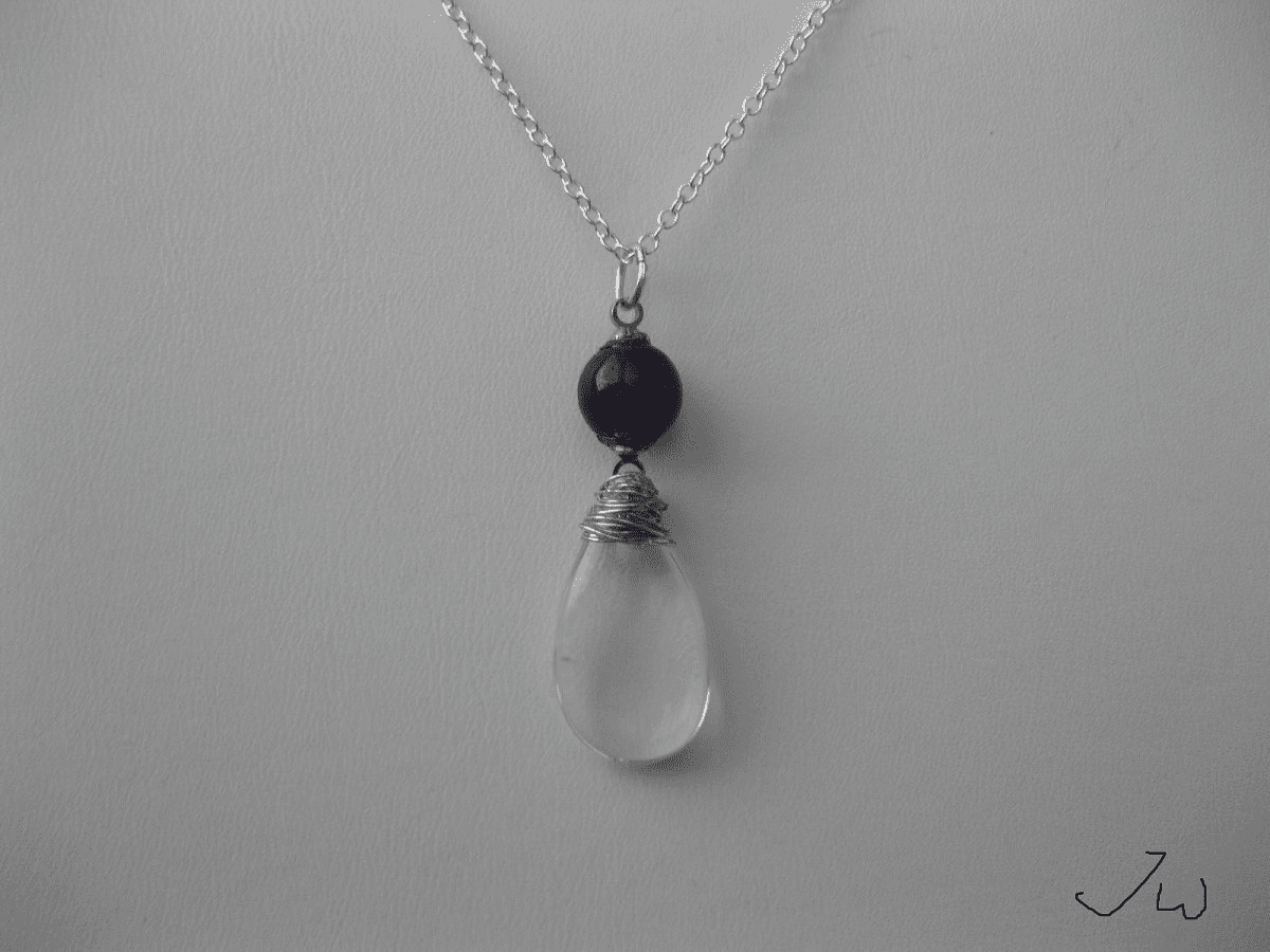 Opalite Chain Necklace with Amethyst Bead