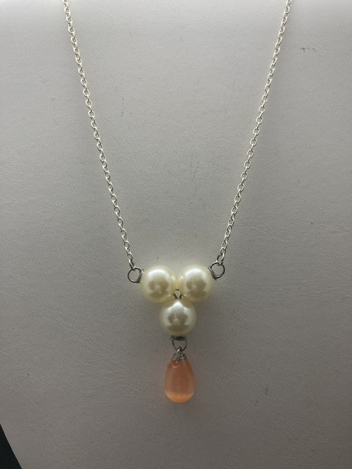Orange cat eye Crystal necklace with pearl beads