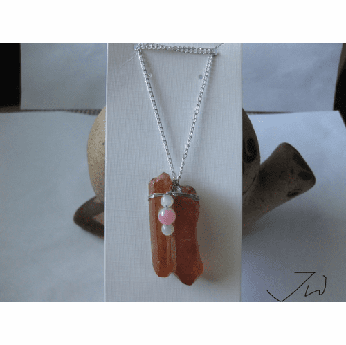 Orange Quartz Stone necklace with Crystal beads