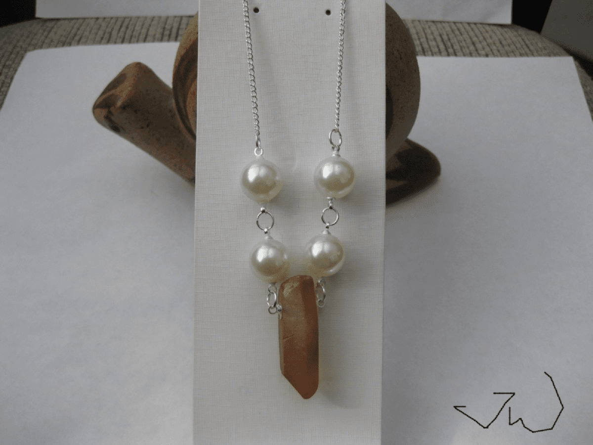 Orange Quartz Stone silver Plated necklace with Pearl beads