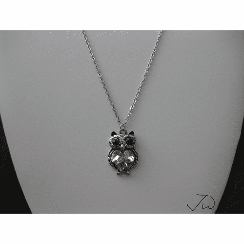 Owl Tibetan silver Pendant Necklace with CZs