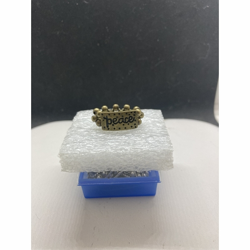 Peace tag bronze beads ring - size 5.5