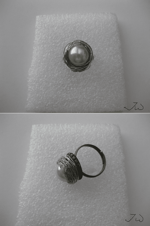 Pearl Silver Wire Bronze Ring