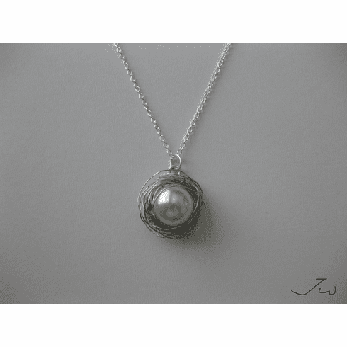 Pearl Silver Wire Chain Necklace