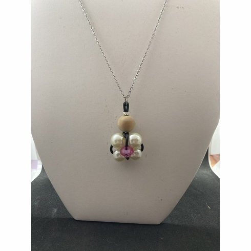 Pink Crystal Bead Chain Necklace with Pearl beads