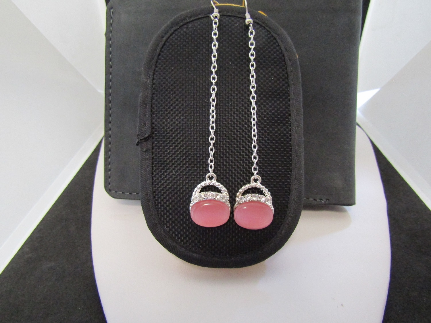 Pink Opal Crystal Dangle Earrings with Czs