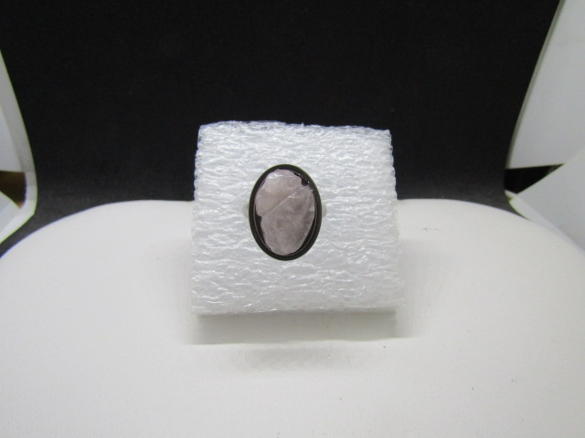 Pink quartz stainless steel ring