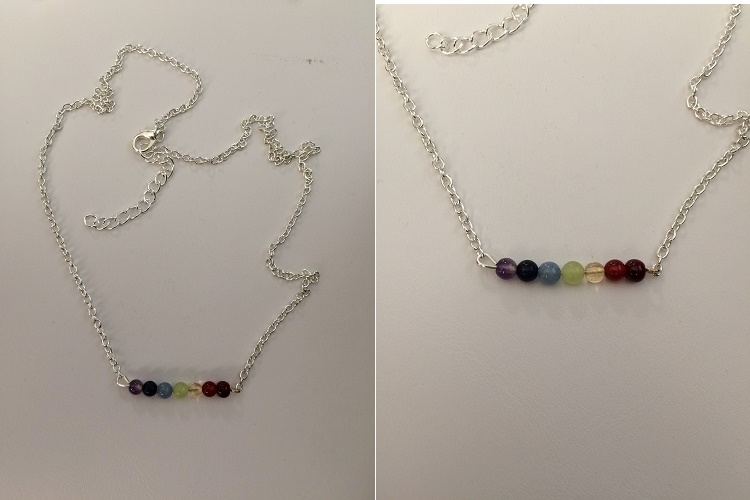 Rainbow crystals chain necklace
