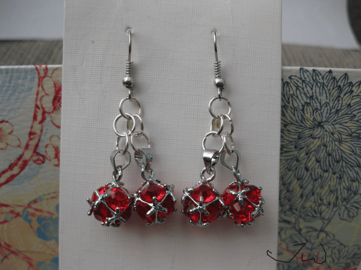 Red CZ Ball Stainless Steel Earrings
