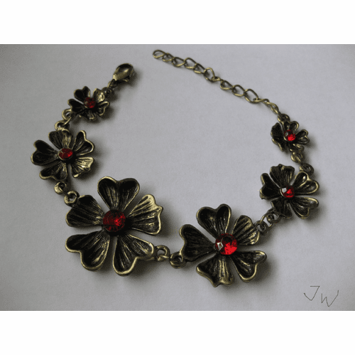 Red Cz Flower Chain Bracelet