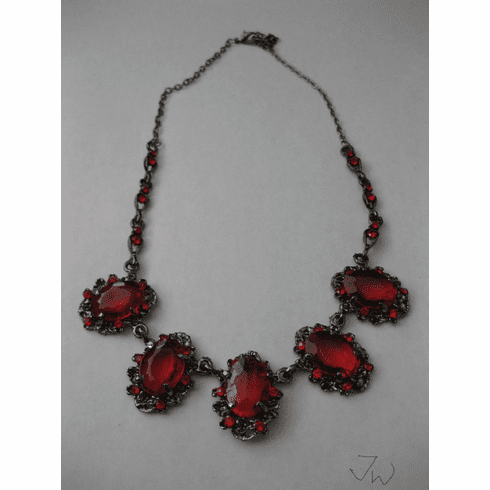 Red CZs Chain Necklace