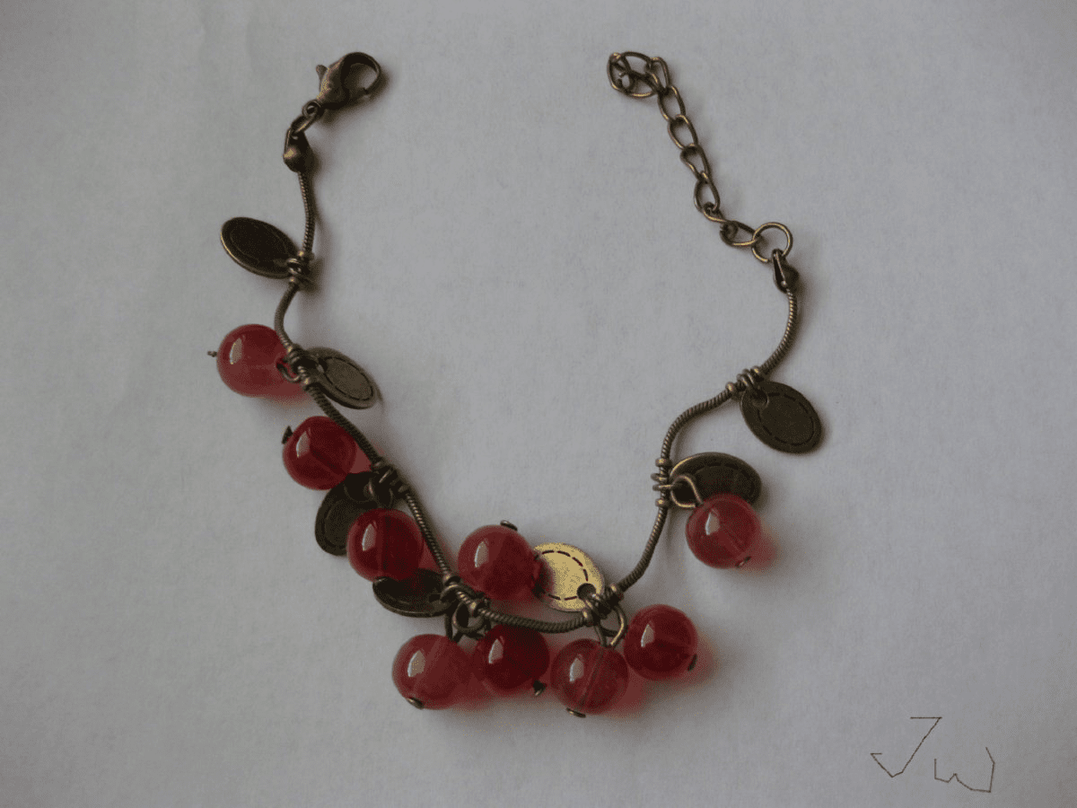 Red Sweet Cherry Crystal Bead Charm Bracelet