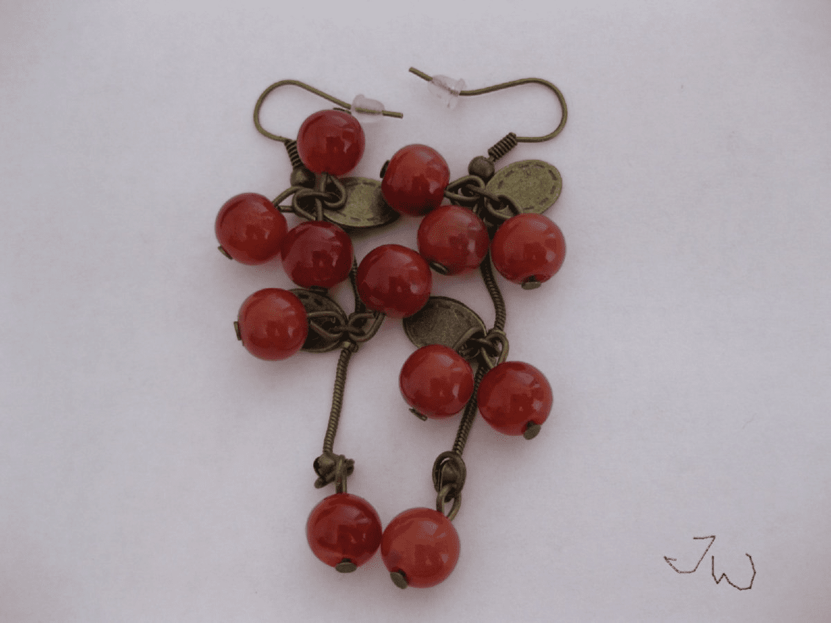 Red Sweet Cherry Crystal Bead Earrings