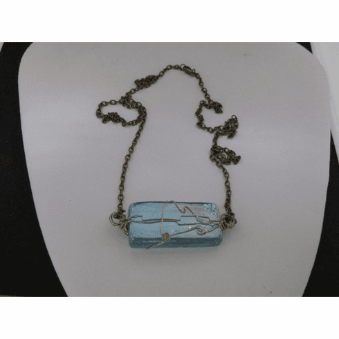 Sea Blue Glass Tile Bronze necklace