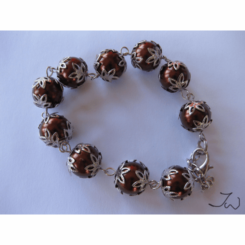 Sea shell pearl bracelet - Brown