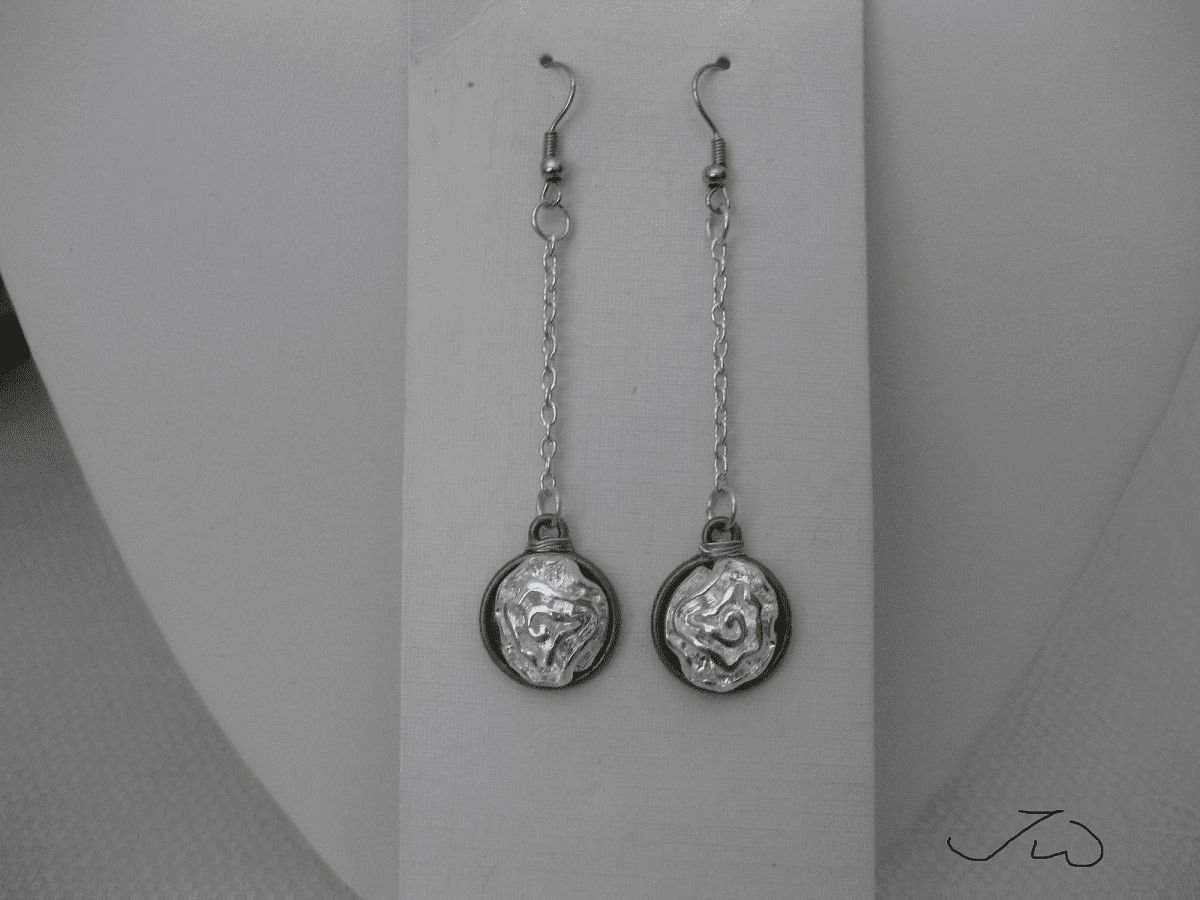 Silver Flower Drop Stainless Steel Earrings