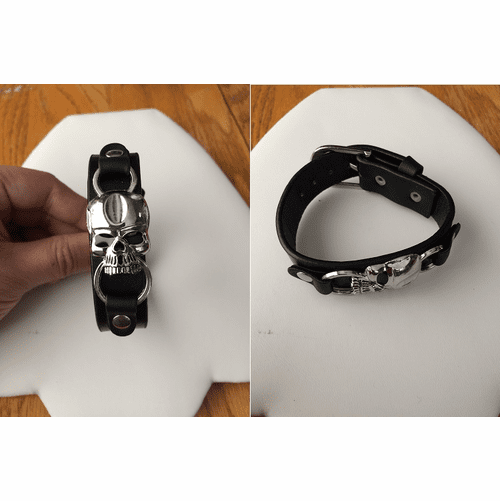Skull Black Leather Band Bracelet