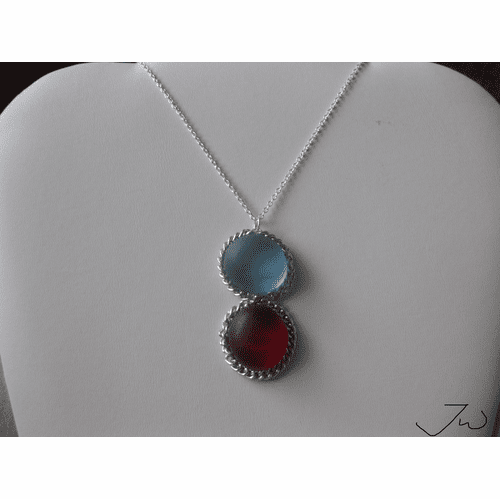 Sky and Red Glass Chain Necklace