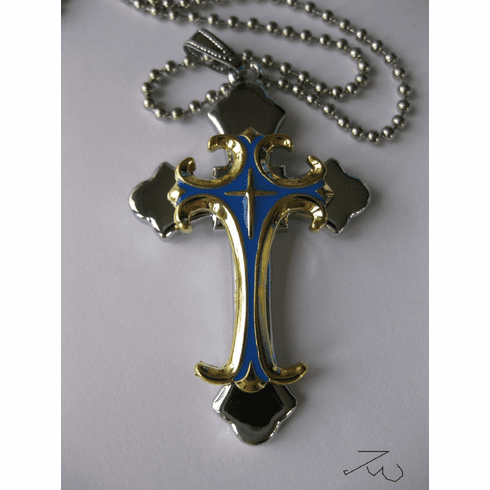 Stainless Steel Cross Pendant Chain Necklace - Gold