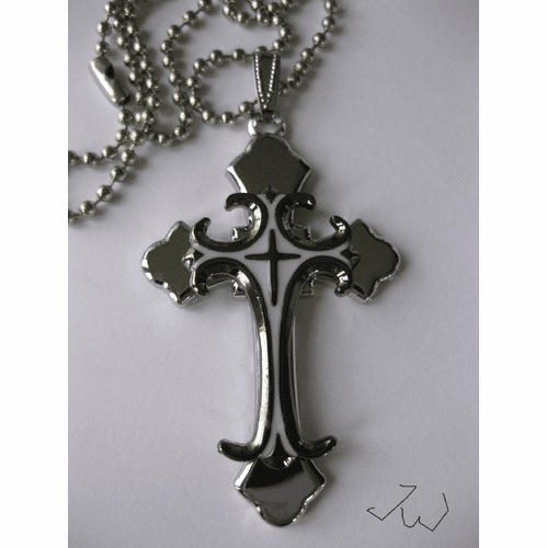 Stainless Steel Cross Pendant Chain Necklace - Silver