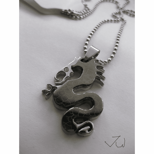 Stainless Steel Dragon Pendant Chain Necklace - Black