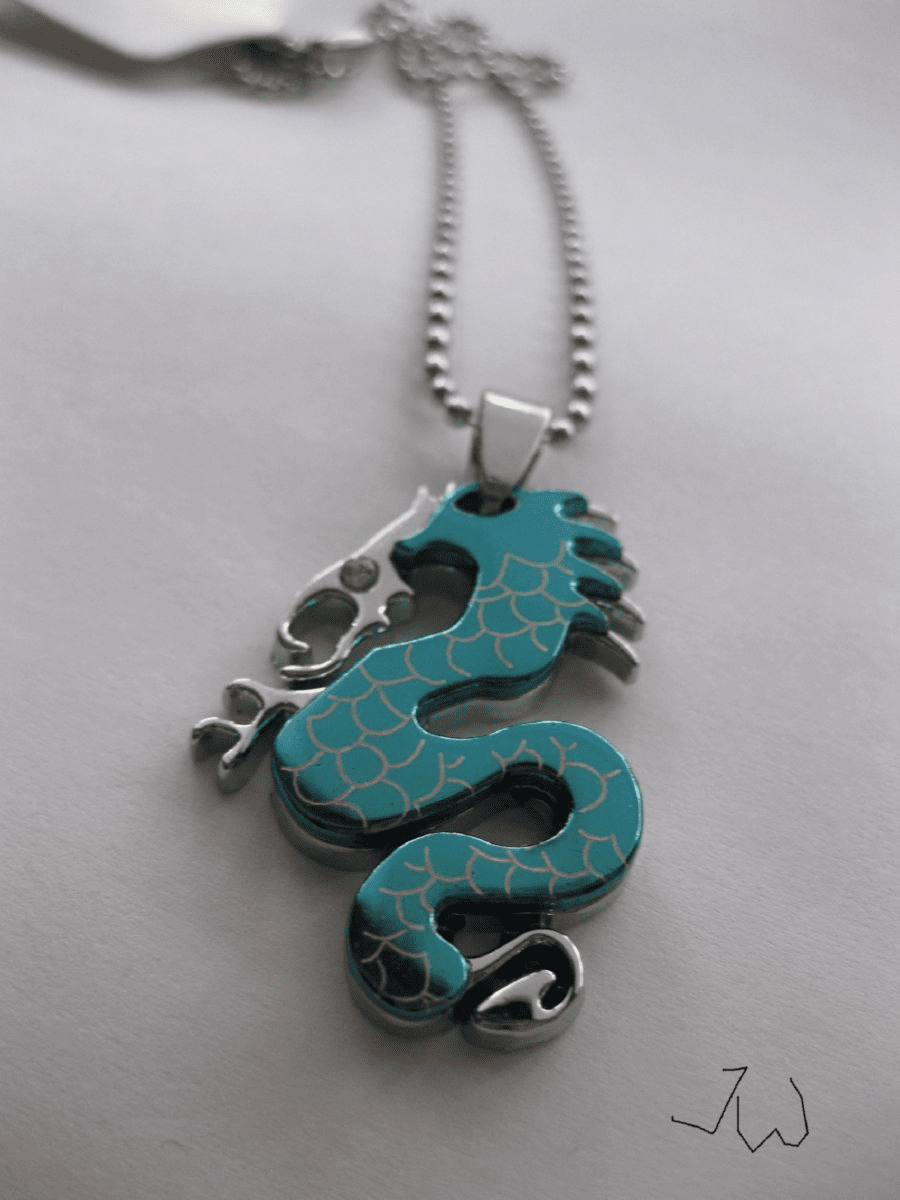 Stainless Steel Dragon Pendant Chain Necklace - Blue