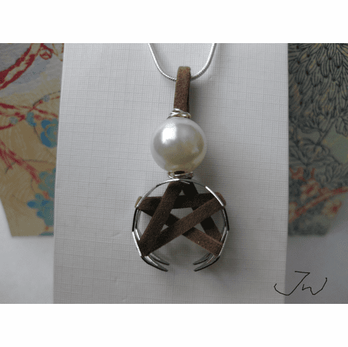 Star Leather Silver Plated Necklace with Pearl Bead