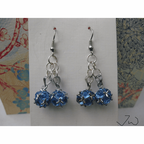 Teal CZ Ball Stainless Steel Earrings