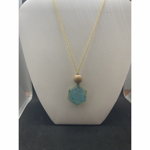 Teal Glass wired Gold chain necklace with wood bead
