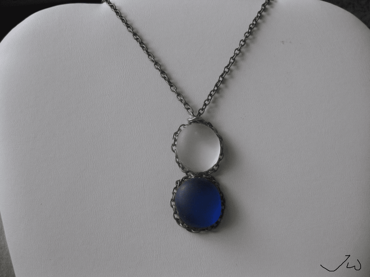 White and Blue Glass Bronze Necklace
